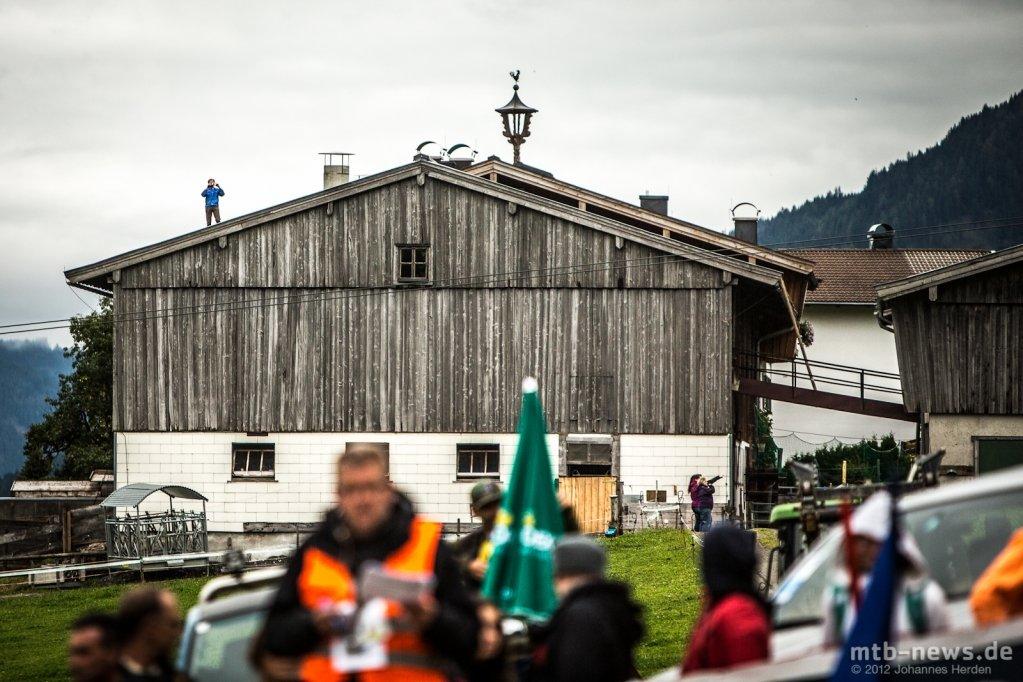 Beste Aussicht: Ein Zuschauer des 4X-Rennens