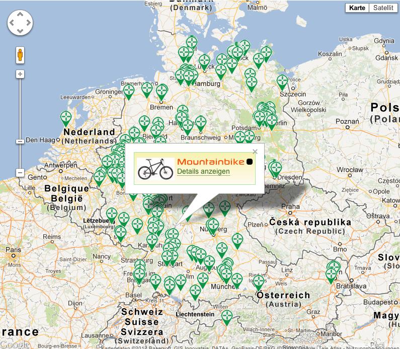 Jagdrevier - Karte gestohlener Bikes